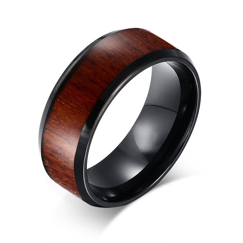 Bague tungstene marron bordure noir