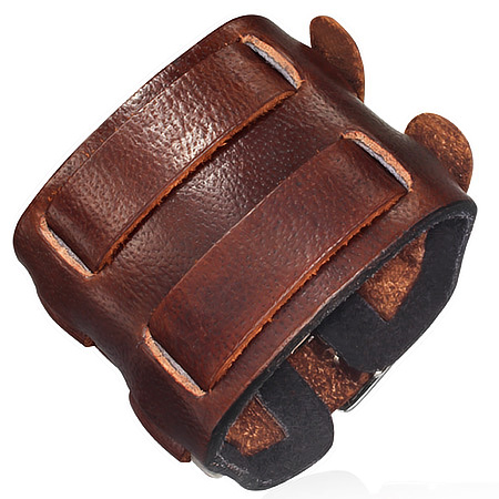 Bracelet de force marron 2 boucles
