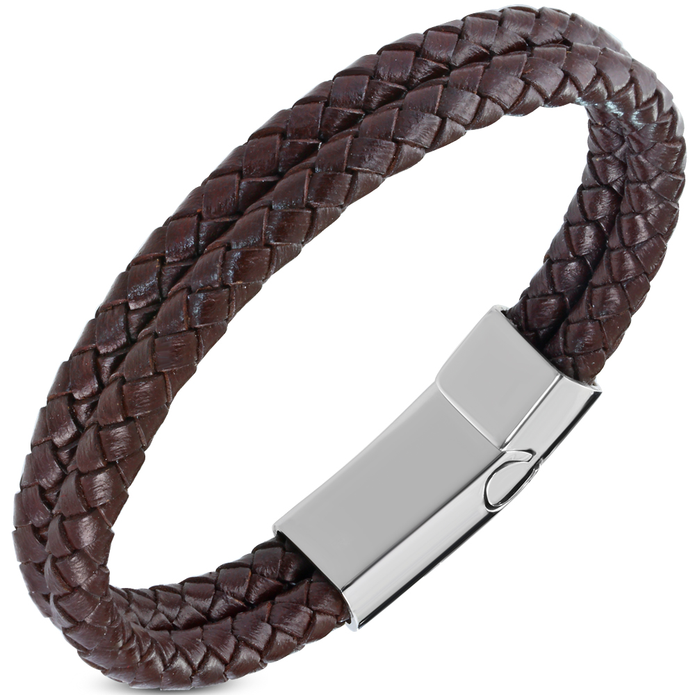 Bracelet cuir double marron