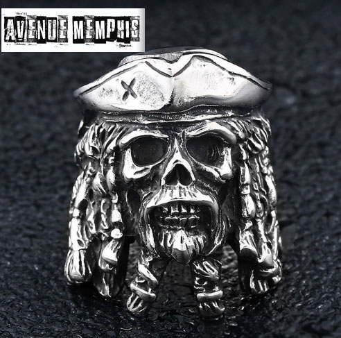 Bague  tete de mort pirate davy jones
