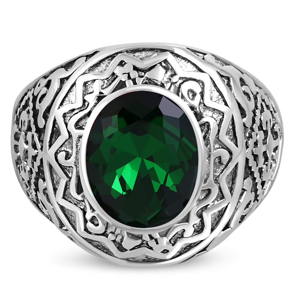 Bague chevaliere pierre de synthese verte