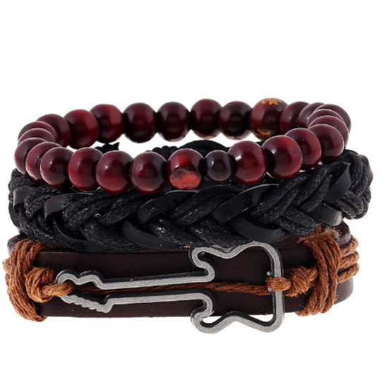 Bracelet cuir multiple et guitare