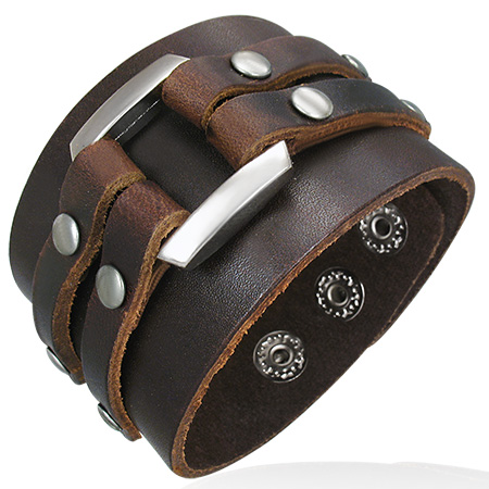 Bracelet cuir marron decoration metal