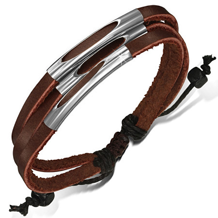 Bracelet cuir triple marron