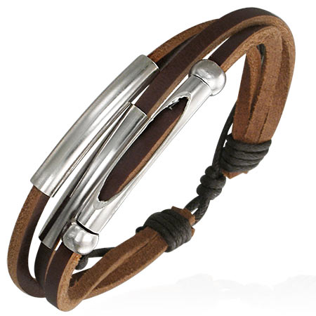 Bracelet cuir marron triple